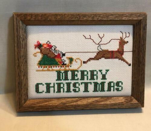 """Christmas Holiday Reindeer Finished Cross Stitch 6.25""""X8.25"""" Framed"""