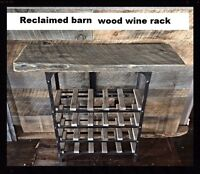Handcrafted with 150yr old  barnwood with iron frame wine rack