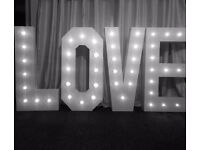 4ft LED Light up 'LOVE' letters and Flower Wall available to hire **£160 for both**