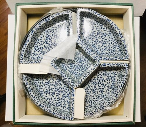 Vintage Collectible Japanese Porcelain Blue & White Serving Set with Lazy Susan