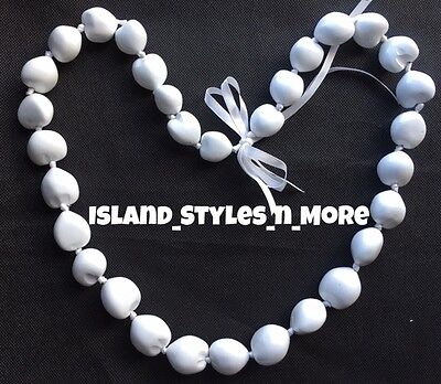 Hawaii Wedding Kukui Nut Lei Graduation Luau Hula Party Necklace SOLID WHITE NWT