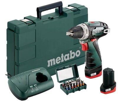 Metabo Akkuschrauber PowerMAXX BS Basic Set + BitBox 15-tlg. inkl. 2x 2,0AH Akku