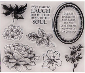 Clear Acrylic LAUGH Flowers Leaves Frame Title 9 Stamps on 1 Sheet 12 x 10.5cm