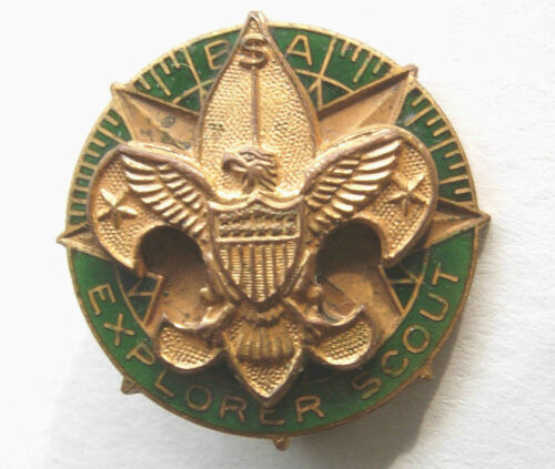 1940s BSA Explorer Scout Enameled Pin - PB - Boy Scouts of America