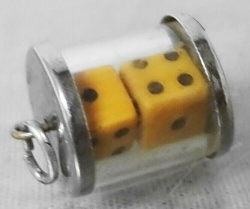 VINTAGE Sterling Gambling Pair of DICE In Lucite Tube Silver Charm For Bracelet