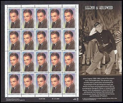 RJAMES: US 3329 JAMES CAGNEY LEGENDS OF HOLLYWOOD SOUVINER SHEET, MNH, VF