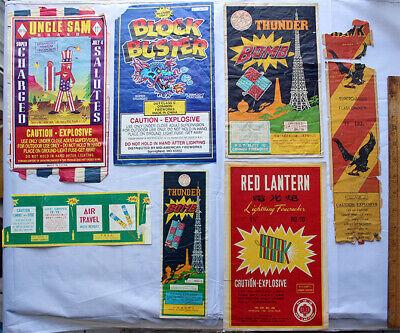 Vtg Fireworks 7 Labels Rocket_Thunder Bomb_Red Lantern_Air Trvl_Uncle Sam_Block