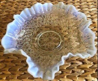 """Jefferson Many Loops Clear Milk Opalescent Glass Bowl Pattern 8.5"""""""