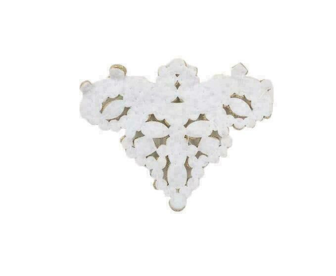 2x Flower Shoe Clip Rhinestones Iron on Patch Badge Applique White I4H7