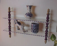 Two Tier Glass Shelf Hollywood Regency Style