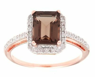 10k Rose Gold Emerald-Cut 2.20ct Smokey Quartz and Pave Diamond - Cut Rose Quartz Ring