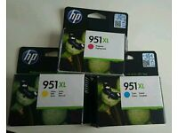 3x original HP 951XL ink cartridges cyan magenta and yellow brand new sealed boxes