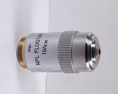 Leitz Npl Fluotar 10x .30 170mm Tl Microscope Objective