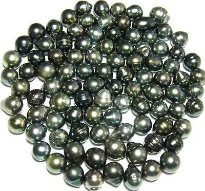 Lot of 10 9-10 MM Baroque Loose Tahitian Black Pearls