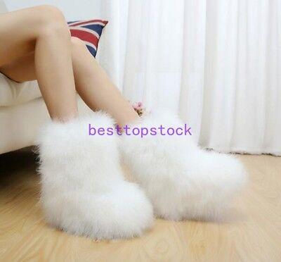 Ostrich fur Women Winter Long Boot Eskimo Hair Fluffy Boots Sexy hot Furry Boot](Eskimo Women)