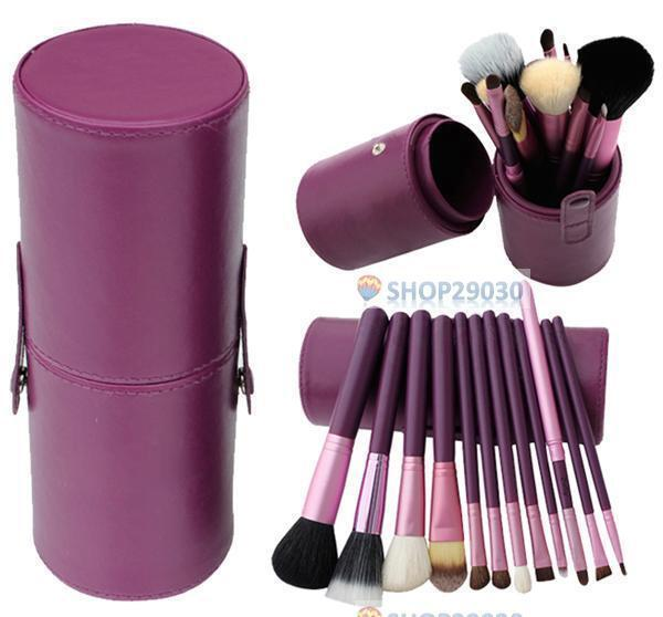 12pcs Pro Cosmetic Makeup Brush Set Make up Tool + Leather Cup Holder Kits Purp