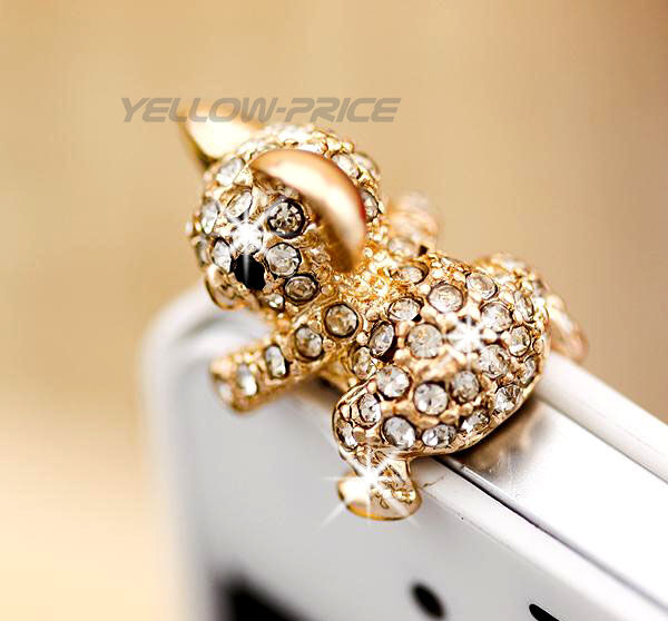 Rhineston Bling Cute Koala Girl 3.5mm Earphone Jack Dustproof Plug Ear Dust Cap