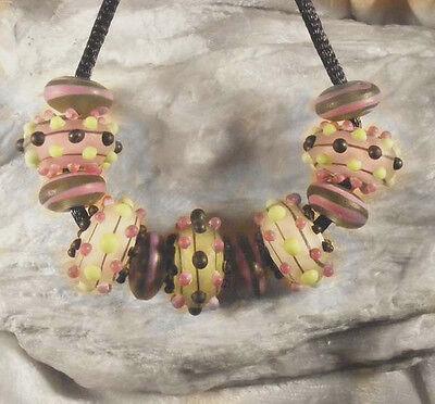 LNT Handmade Lampwork Spacer beads-Mini Series MOONLIGHT ECLIPSE Nb9751 PinkLime