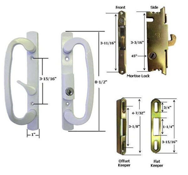 Sliding Glass Patio Door Handle Kit Mortise Lock and Keepers, B-Position, White