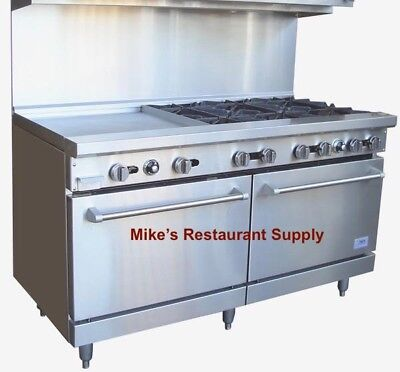 New 60 Gas Commercial Burner Griddle Combination Range Oven Stratus Usa 7235