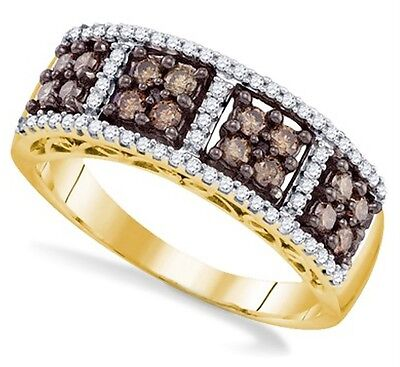 10k Yellow Gold Chocolate Brown & White Diamond Square Cluster Ring Band .54ct