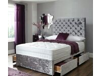 Why wait days ? Delivery Today Crushed Velvet Double Bed Mattress Headboard