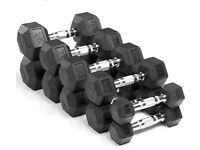 Rubber Hex Dumbbells PAIRS (5kg/7.5kg/10kg/15kg/20kg/25kg)