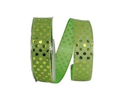 5 Yds.  LIME GREEN DOT GLIMMER WIRE EDGE RIBBON  1 1/2