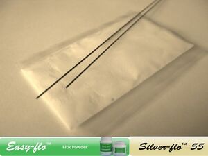 # SILVER BRAZING SOLDER & FLUX KIT - 55% silver. Just add heat! 200mm rods #