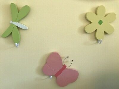 Green Butterfly Nursery Decorations - Wood Wall Decor Hooks Girl Butterfly Flower Dragonfly Yellow Pink Green Nursery