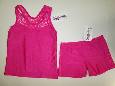 NEW Top Shorts Set Size 3-4 XS Child Lot Dance Jazz Cheer Gymnastic Leotard Pink