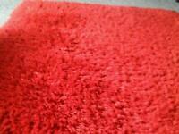 Red shag pile rug