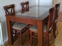 Solid wood dining table with glass top + 4 chairs