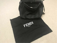 FENDI PEEKABOO - in black Roman leather with metallic stitching