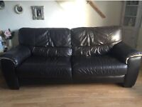 x2 Brown Leather Sofas, good condition