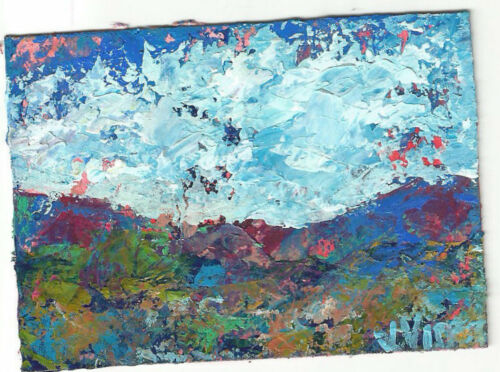 PATCHWRK MTN Original Abstract Knife Landscape Tree Painting ACEO mini 2.5x3.5in