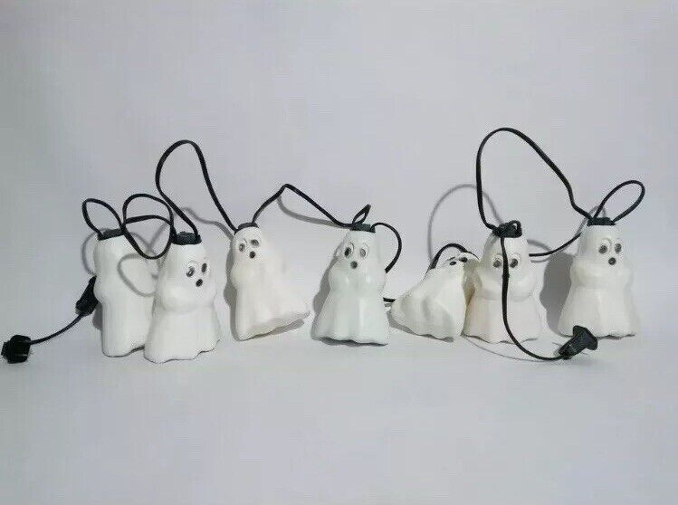Vintage Halloween Blow Mold Ghost String Light Tested & Working