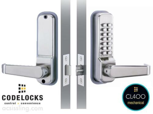 CODELOCKS CL415-SS PVD Keyless Mechanical Lockset, Entry/Exit with Passage Lever