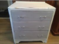 Shabby chic antique white and French grey chest of drawers