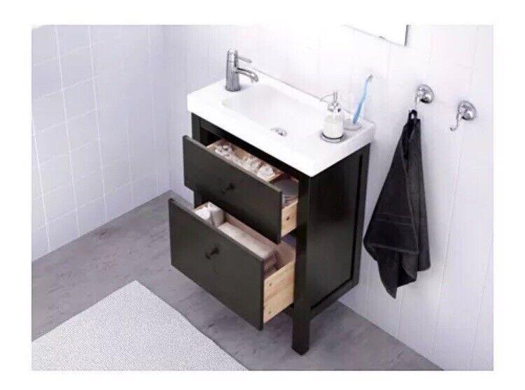 Hemnes Ikea Black Brown Bathroom Basin Wash Stand Vanity Unit
