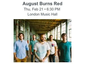2 August Burns Red Tickets, London Music Hall