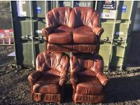 Brown Leather 3 piece suite (Delivery Included)