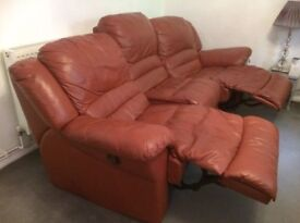 3 seat leather with 2 Parker Knolls (recliners) quality bespoke product when new.