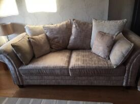 3 + 2 Seater Cream Chenille/Crushed Velvet Pillow Back Sofas - only 3 months old - As New Condition!