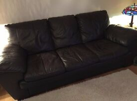 DFS Black Leather Sofa.. PERFECT CONDITION..!!!!
