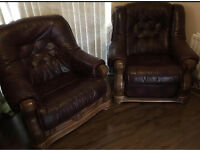 2x leather brown armchairs