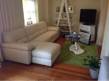 White Cream Leather Couch - Modular 2.5 Seat Sofabed with Chaise Northbridge Willoughby Area Preview