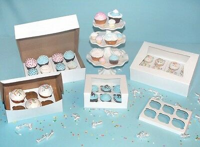 25 Bakery Cupcake Box 8x8x4 White With Inserts Each Holds 4 Cupcakes
