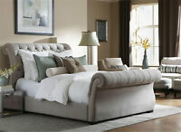 UPHOLSTERED SLEIGH FABRIC BED MERCEDES