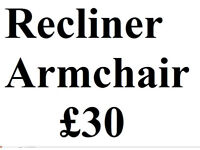 Reckiner Armchair - Tan leather